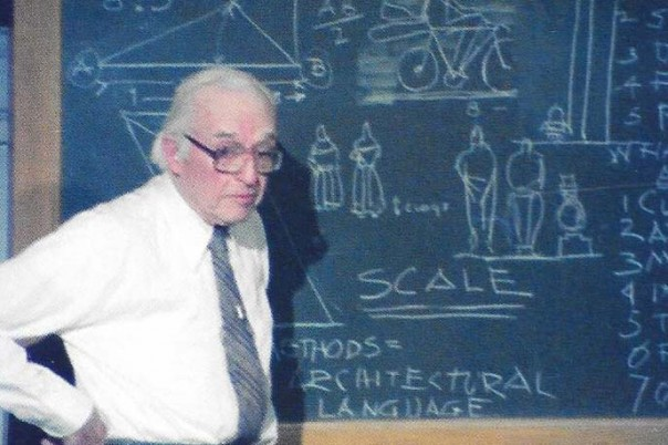 Linus Burr Smith in the classroom, FAIA, undated photo