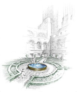 Rendering of proposed courtyard update. Image courtesy of the Nebraska Capitol Commission